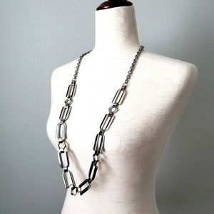 Chico's Shiny Silver Chain Long Necklace Or Belt